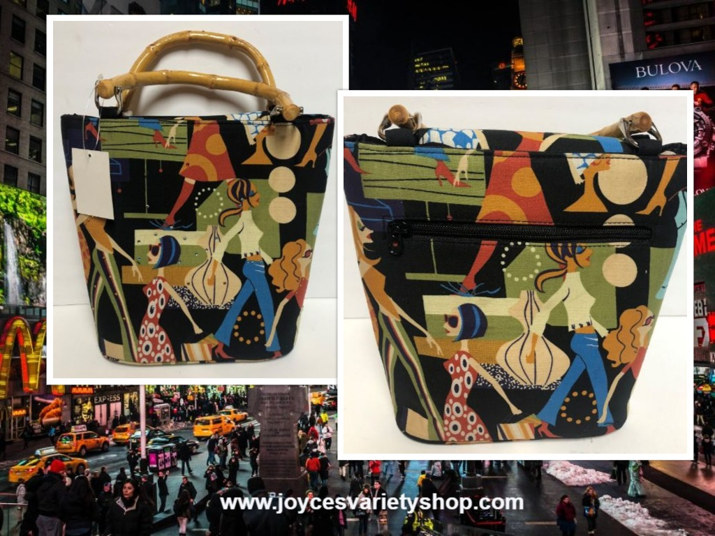 City Streets Handbag Purse Bamboo Handles Multi-Color Graphics Medium Size