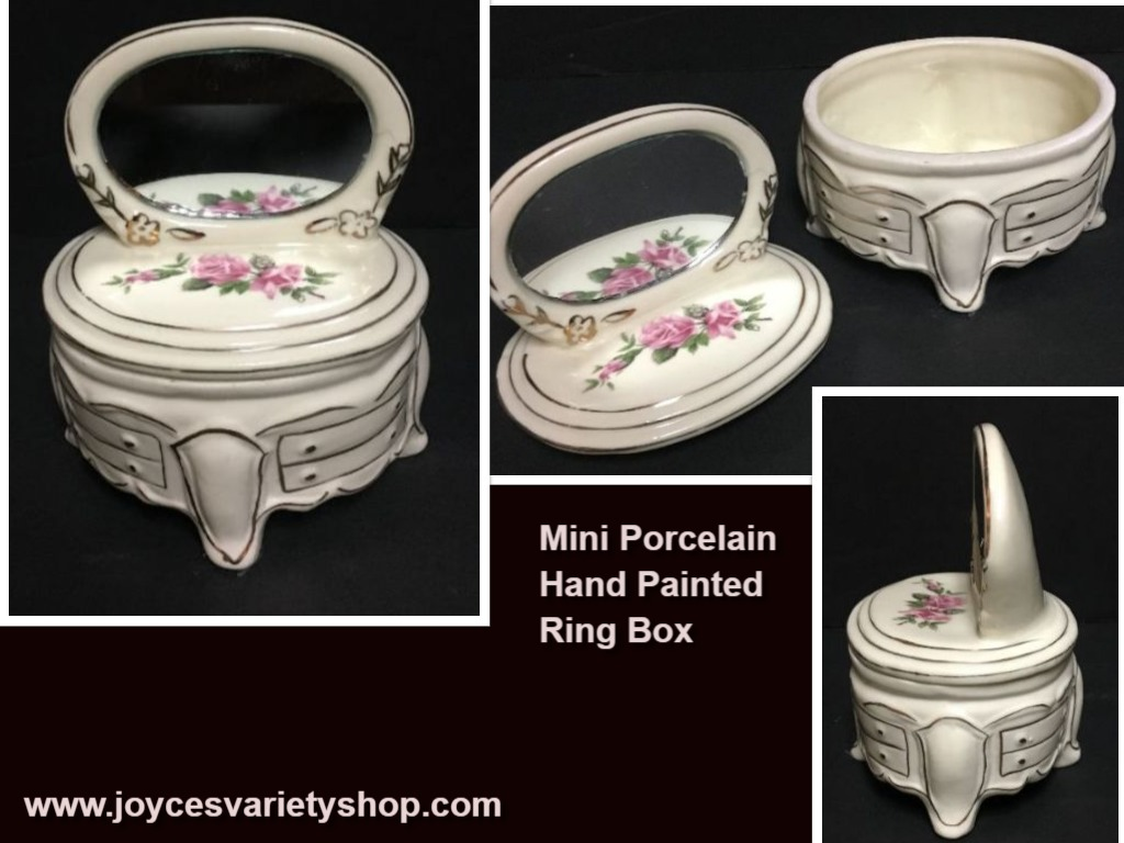 Porcelain Mini Dresser w/Mirror Jewelry Ring Trinket Box Hand Painted