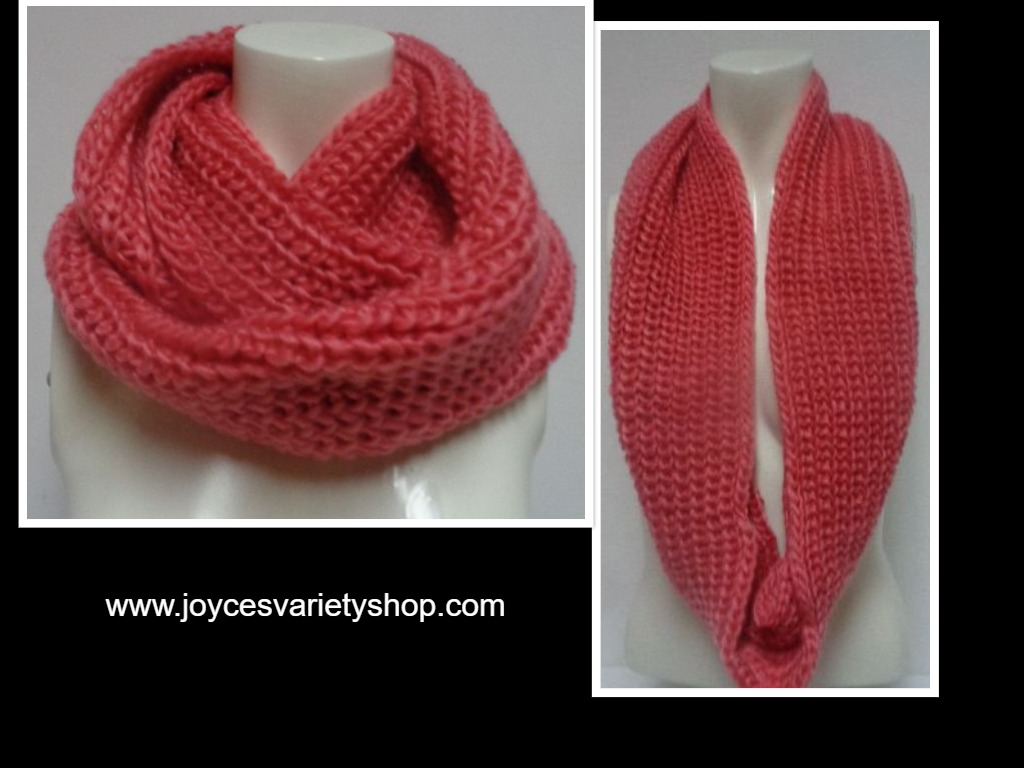 "Winter Scarf Strawberry Pink NWT Women's Sz Adult 27"" Infinity Style"