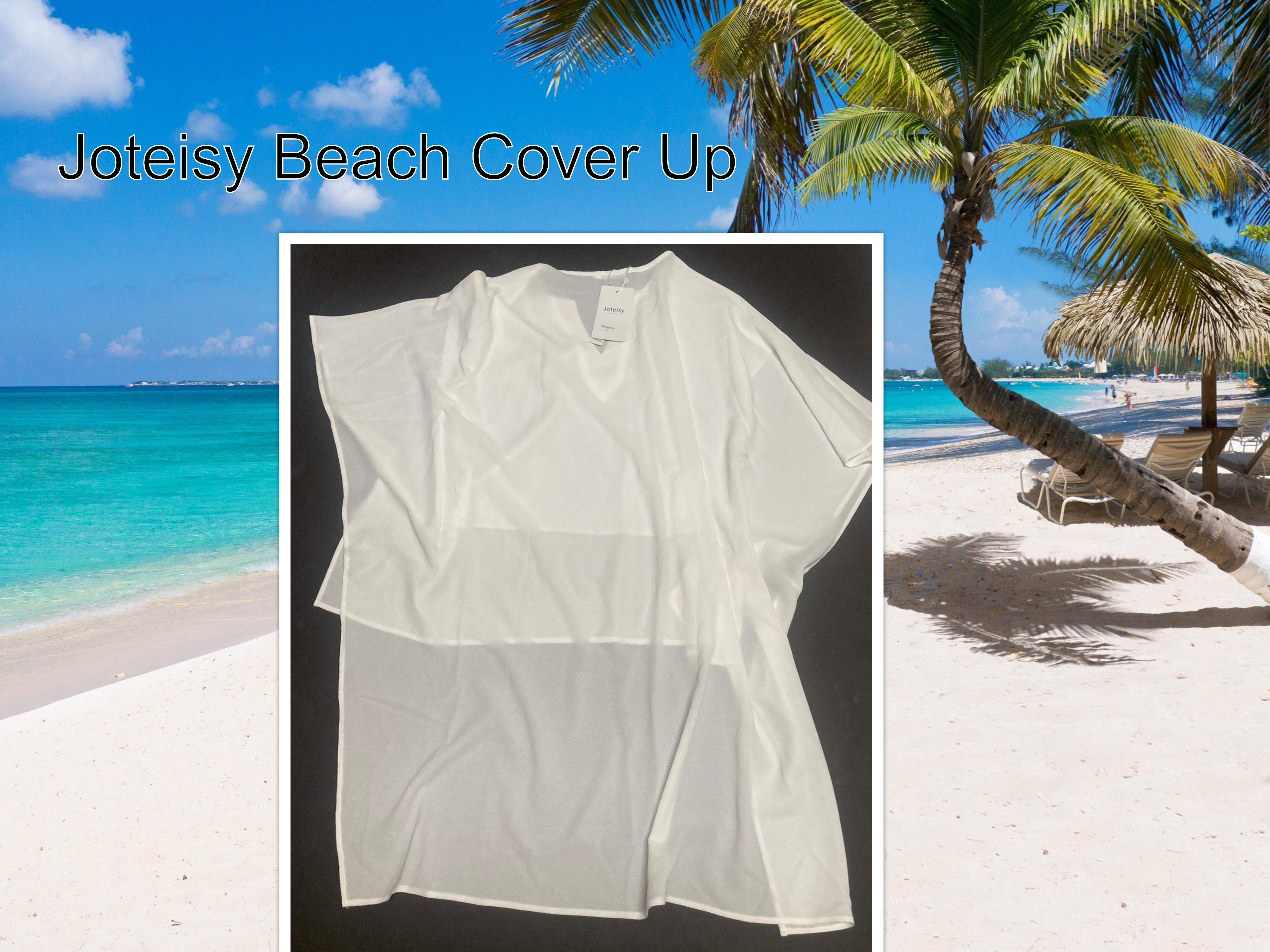Joteisy Sheer White Blouse Top Swim Cover Beachwear Tunic Sz Large Layered