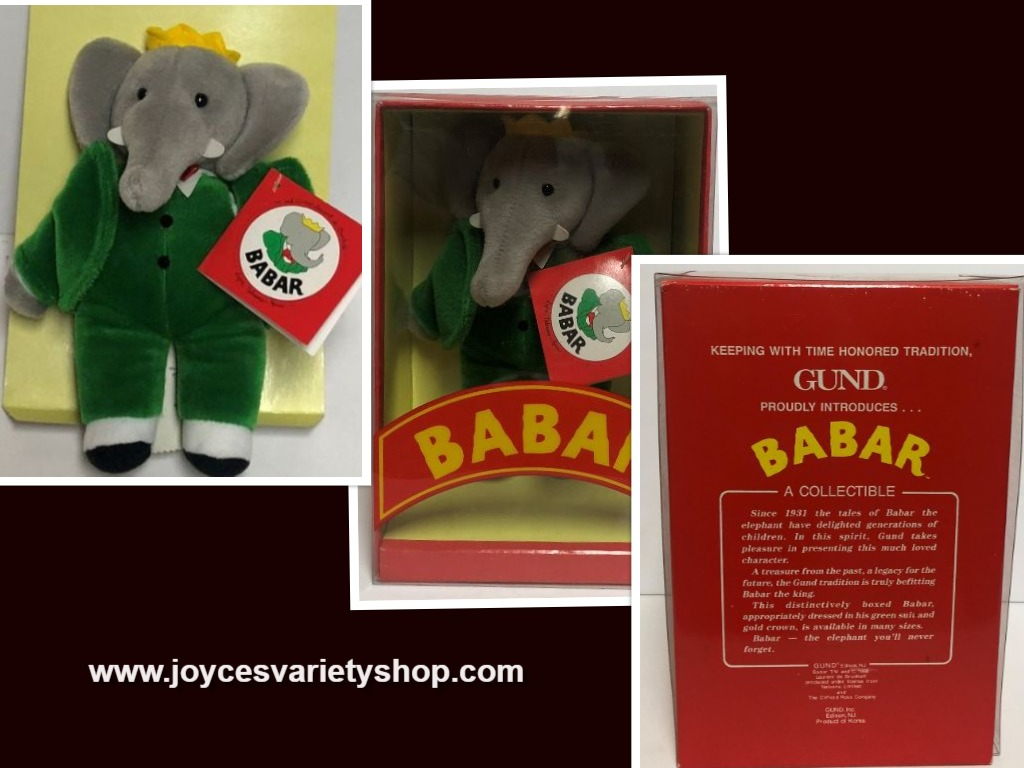 "GUND BABAR Collectible Plush Elephant 9"" Complete 1988"