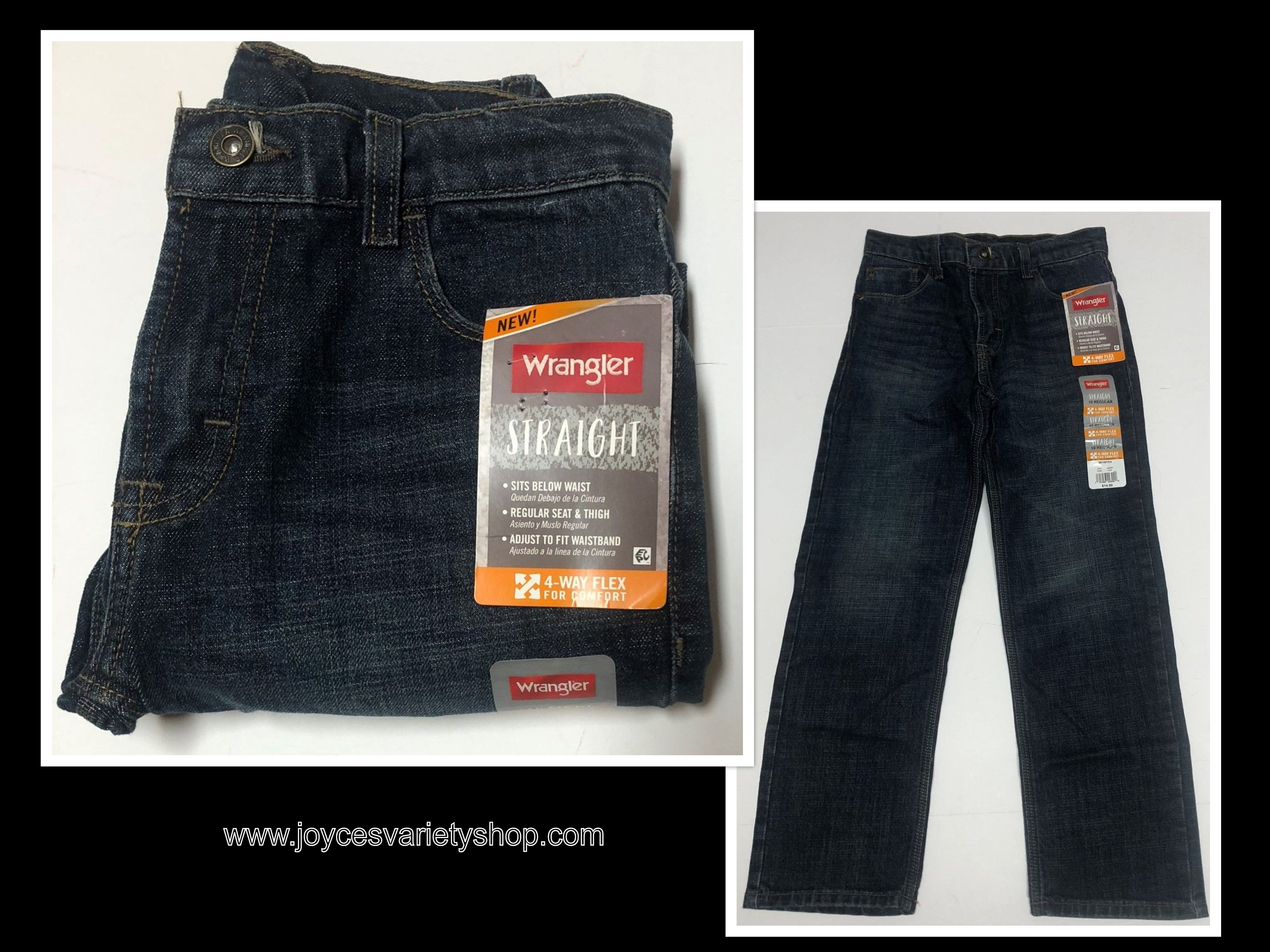 Wrangler Boy's Blue Jeans Sz 10 Regular 4 Way Flex Straight Below Waist