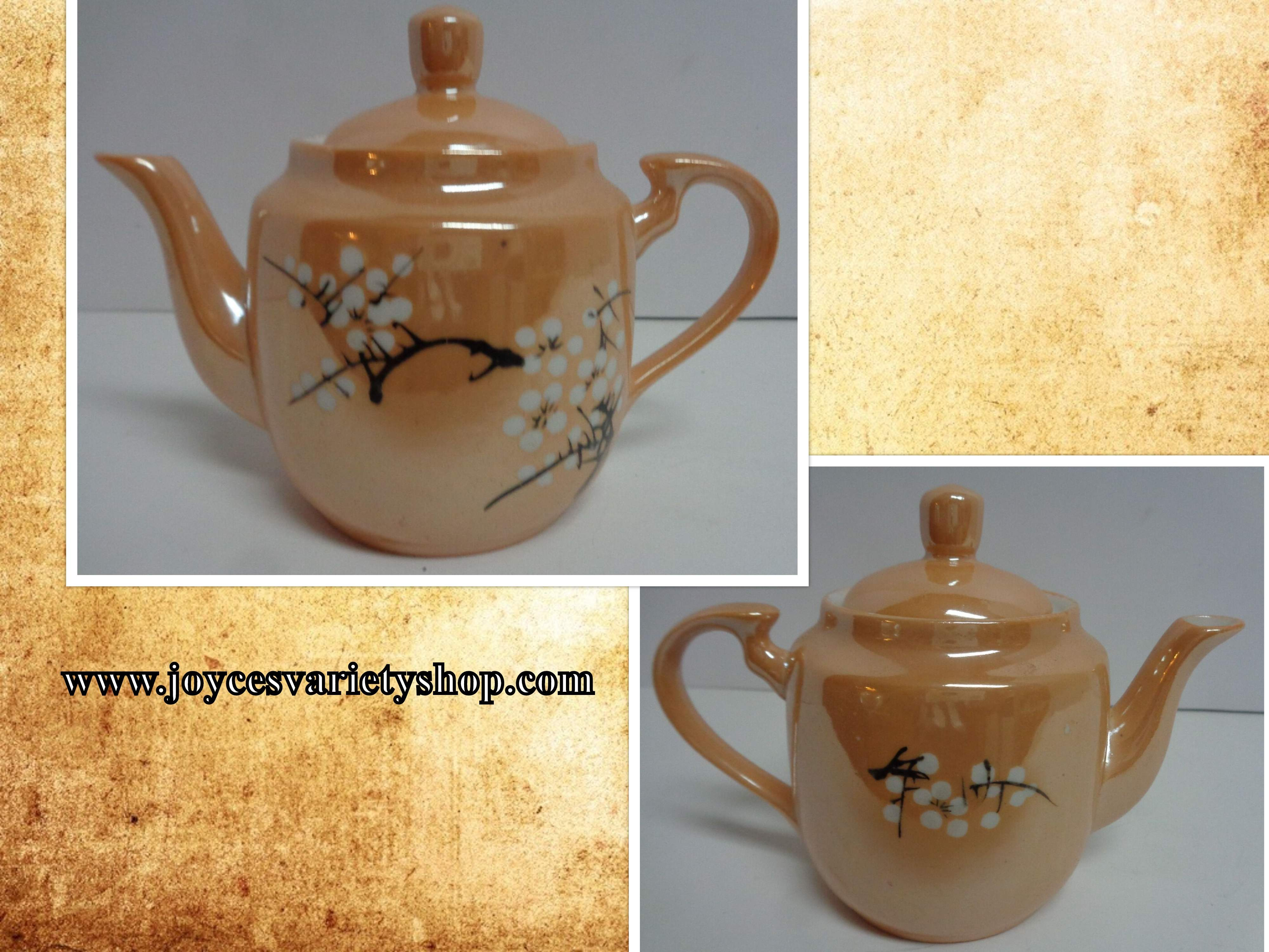 Lusterware China CHERRY BLOSSOM Peach Porcelain Small Tea Pot