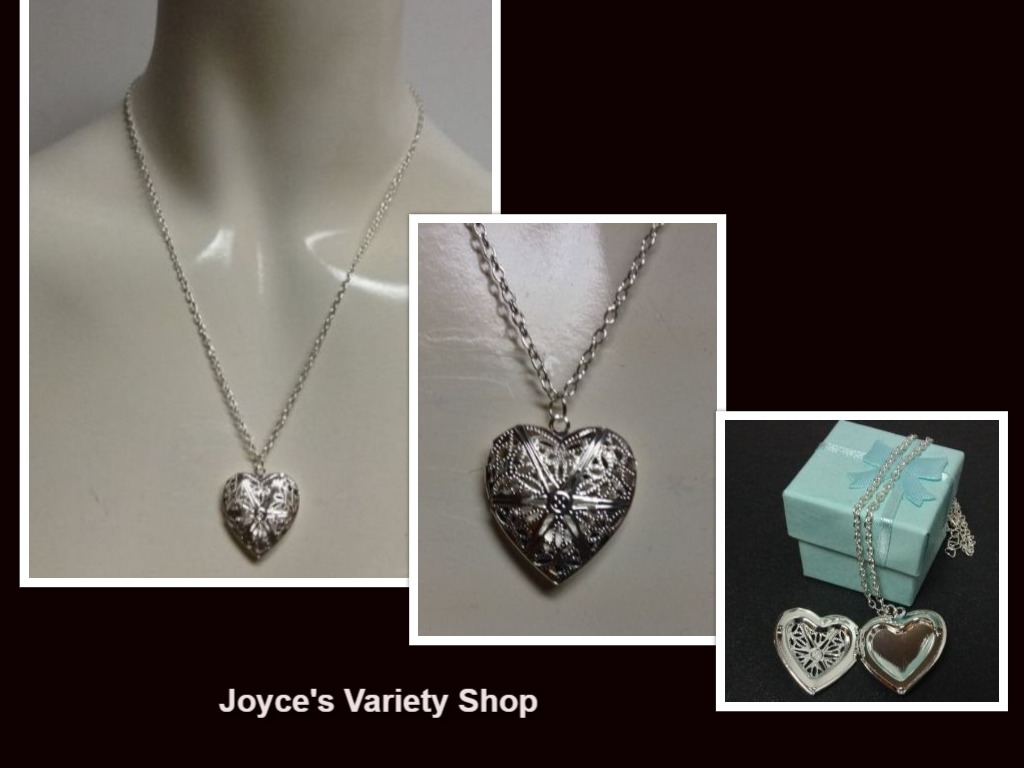 Sterling Silver Heart Locket Necklace 925 NWT Gift Box Included