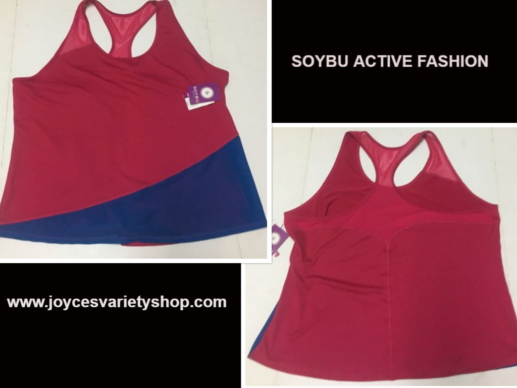 Soybu Active Fashion Top Work Out Sz 3X PInk & Blue